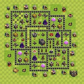 Base plan Town Hall level 9 for trophies (defence) (variant 69)