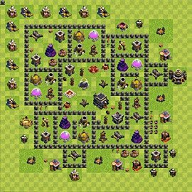 Base plan Town Hall level 9 for trophies (defence) (variant 71)