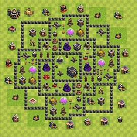 Base plan Town Hall level 9 for trophies (defence) (variant 72)