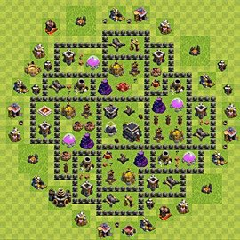 Base plan Town Hall level 9 for trophies (defence) (variant 74)