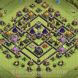 TH9 Trophy Base Plan with Link, Copy Town Hall 9 Base Design 2020, #85