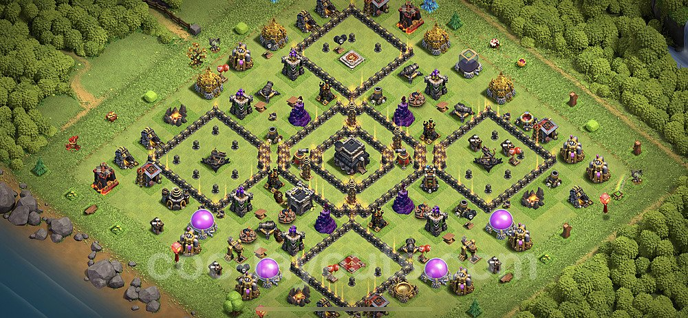 Top TH9 Unbeatable Anti Loot Base Plan with Link, Copy Town Hall 9 Base Design 2020, #163