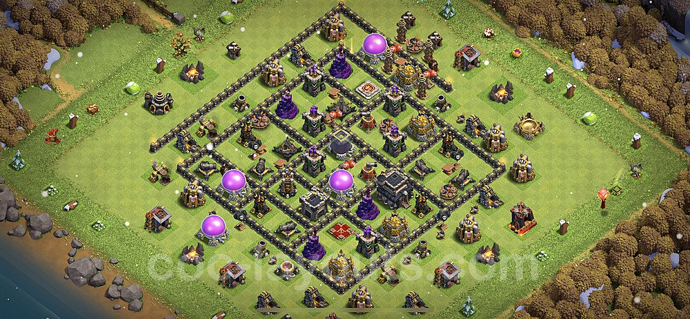 Anti Dragon TH9 Base Plan with Link, Copy Town Hall 9 Anti Air Design 2021, #188