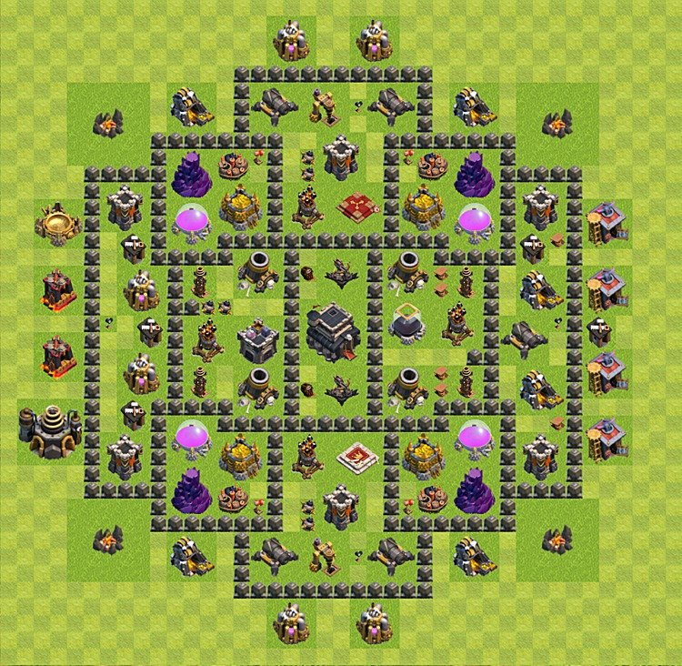 Clash of Clans base plan (layout) for trophies – Town Hall