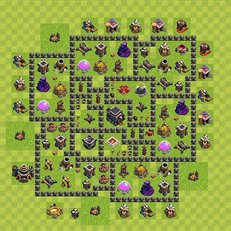 Layout de defesa Clash of clans - nível da Centro de vila