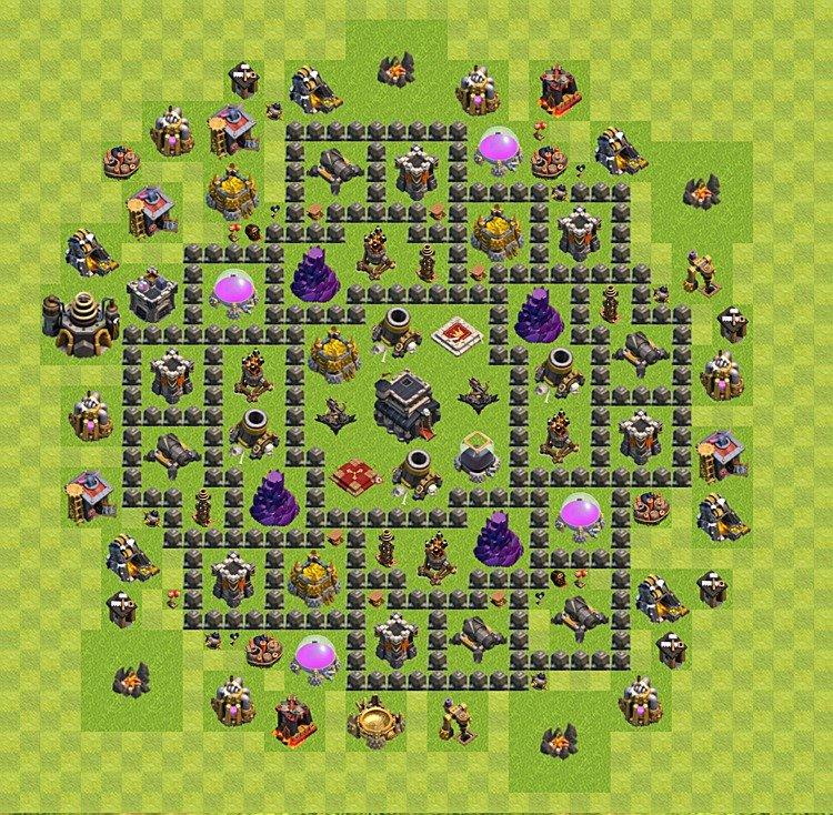 Layout de defesa clash of clans n 237 vel da centro de vila 9 cv 9