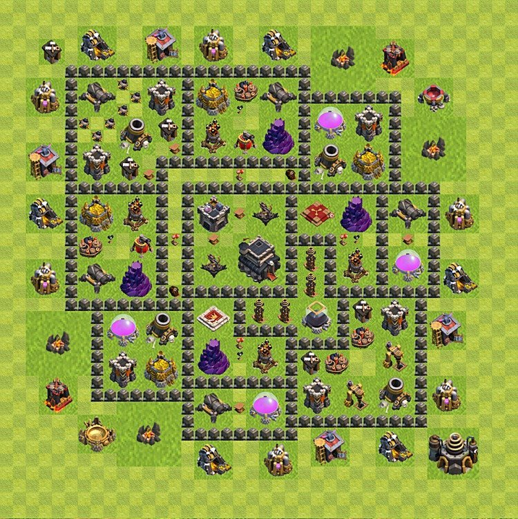 Base plan (layout) for trophies collecting TH  9 (Town Hall level 9, TH 9), variant 69
