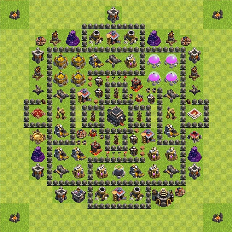 Base plan (layout) for trophies collecting TH  9 (Town Hall level 9, TH 9), variant 73