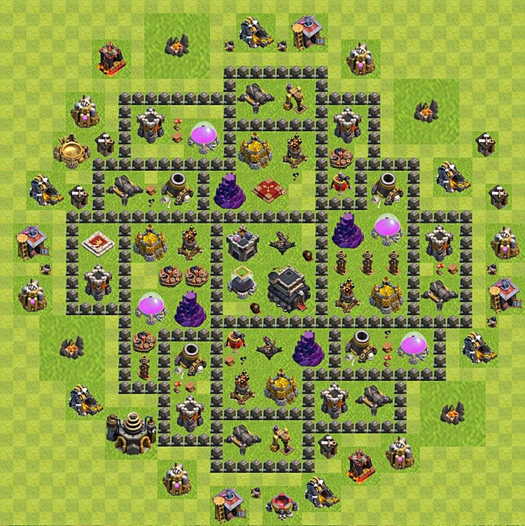 Base plan (layout) for trophies collecting TH  9 (Town Hall level 9, TH 9), variant 74