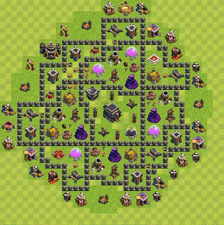 Base plan (layout) for trophies collecting TH  9 (Town Hall level 9, TH 9), variant 75