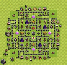 Base plan Town Hall level 9 for farming (variant 35)