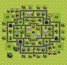 Base plan Town Hall level 9 for farming (variant 37)