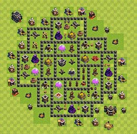 Base plan Town Hall level 9 for farming (variant 62)