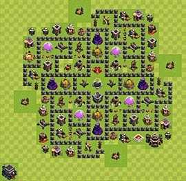 Base plan Town Hall level 9 for farming (variant 64)