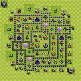 Base plan Town Hall level 9 for farming (variant 65)