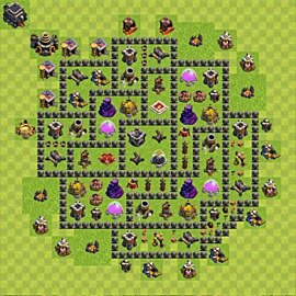 Base plan Town Hall level 9 for farming (variant 67)