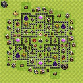 Base plan Town Hall level 9 for farming (variant 69)