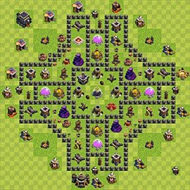 Base plan Town Hall level 9 for farming (variant 70)