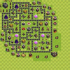 Base plan Town Hall level 9 for farming (variant 74)