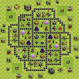Base plan Town Hall level 9 for farming (variant 75)