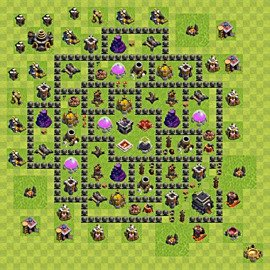 Base plan Town Hall level 9 for farming (variant 76)