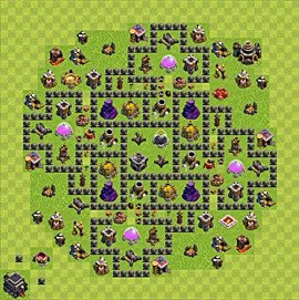 Base plan Town Hall level 9 for farming (variant 77)