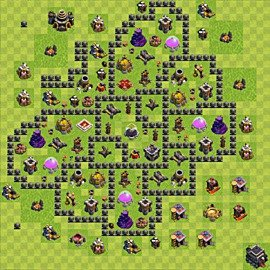 Base plan Town Hall level 9 for farming (variant 78)