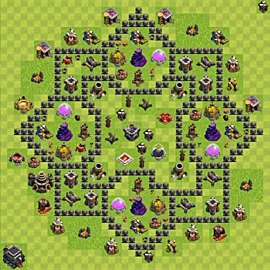Base plan Town Hall level 9 for farming (variant 79)