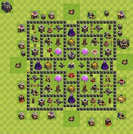 Base plan Town Hall level 9 for farming (variant 82)
