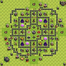 Base plan Town Hall level 9 for farming (variant 86)