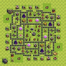 Base plan Town Hall level 9 for farming (variant 87)