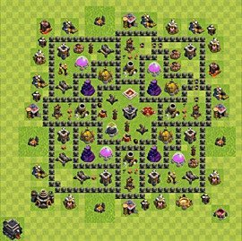 Base plan Town Hall level 9 for farming (variant 88)