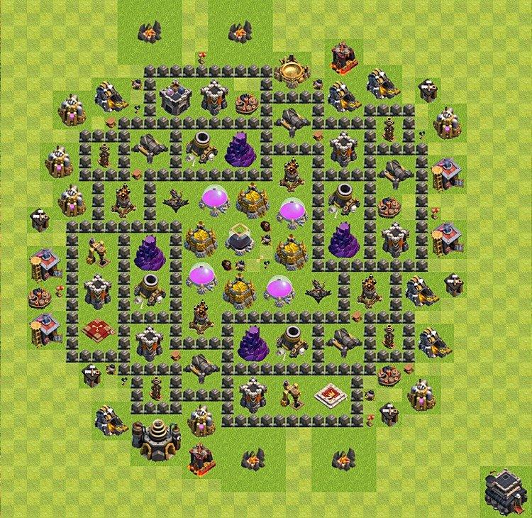 ратуша 9 уровня с бомбежкой clash of clans расстановка 2016 #5
