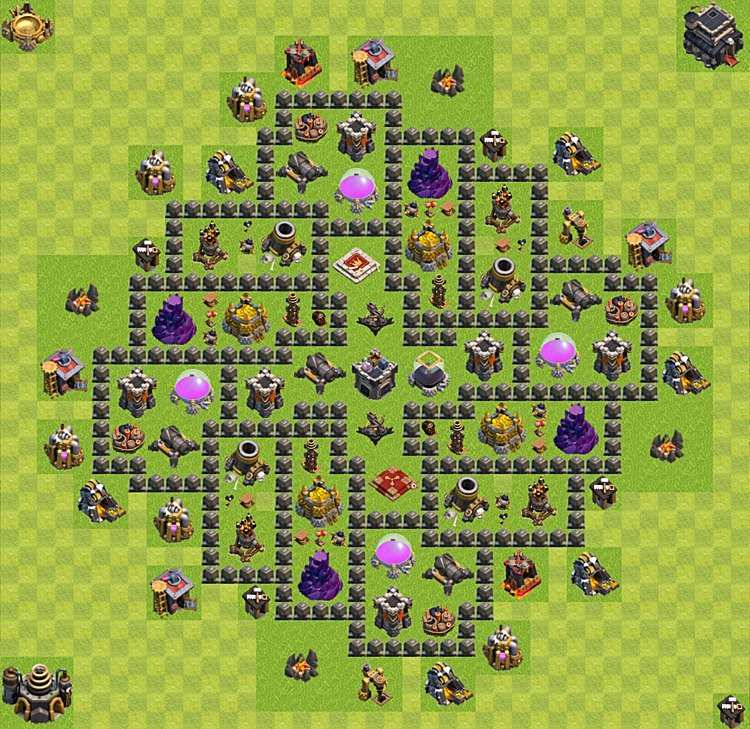 Base plan (layout) for farming TH 9 (Town Hall level 9), TH, th}), variant 6