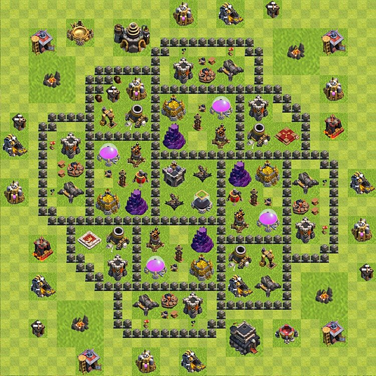 Base plan (layout) for farming TH 9 (Town Hall level 9), TH, th}), variant 75