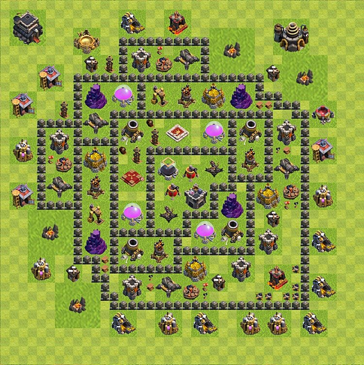 Base plan (layout) for farming TH 9 (Town Hall level 9), TH, th}), variant 84