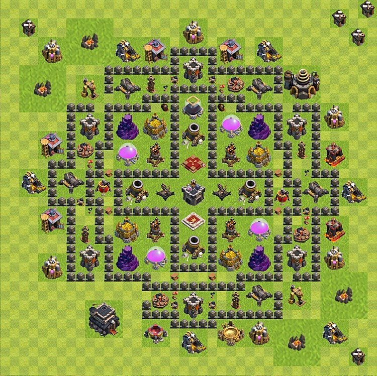 Base plan (layout) for farming TH 9 (Town Hall level 9), TH, th}), variant 91