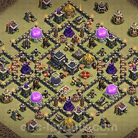 TH9 Anti 2 Stars War Base Plan with Link, Copy Town Hall 9 Design 2021, #37