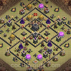 TH9 War Base Plan with Link, Copy Town Hall 9 Design 2021, #39