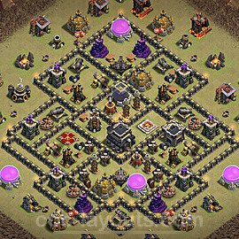 TH9 War Base Plan with Link, Copy Town Hall 9 Design 2021, #40
