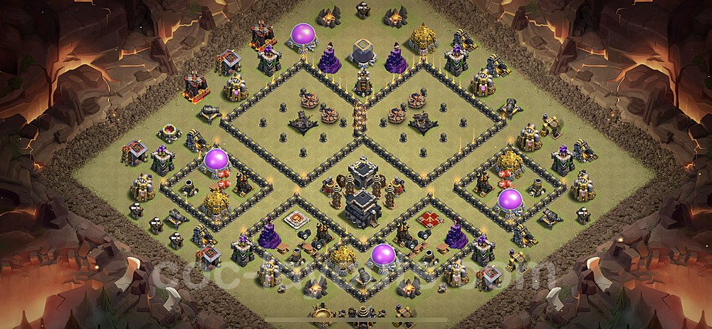 TH9 Anti 3 Stars War Base Plan with Link, Copy Town Hall 9 Design 2020, #4