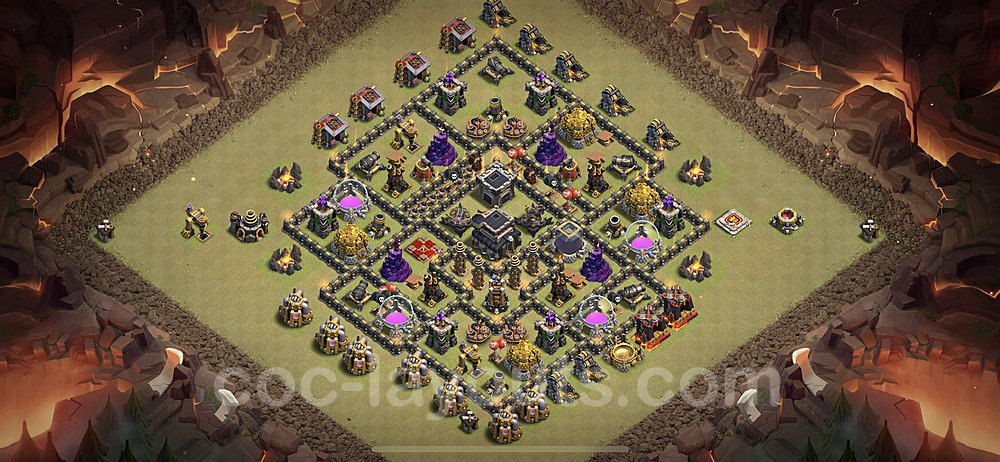 TH9 Anti 3 Stars War Base Plan with Link, Copy Town Hall 9 Design 2020, #6
