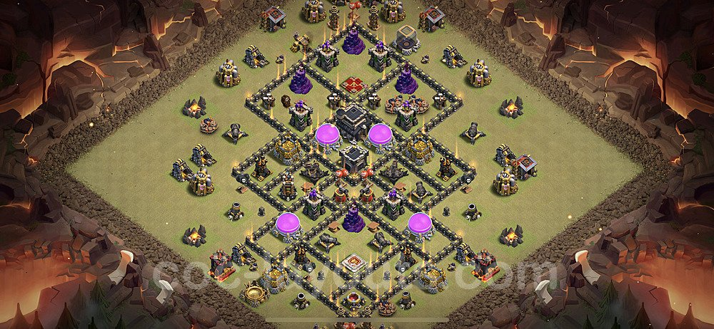TH9 Anti 3 Stars CWL War Base Plan with Link, Copy Town Hall 9 Design 2021, #62