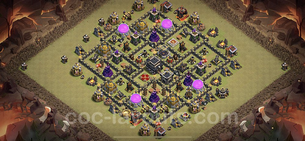 TH9 Anti 2 Stars CWL War Base Plan with Link, Copy Town Hall 9 Design 2021, #64